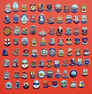 VINTAGE ENAMEL BADGES PLAIN BACK  - A to Z  ALL LISTED  WITH PHOTO'S LOT B18