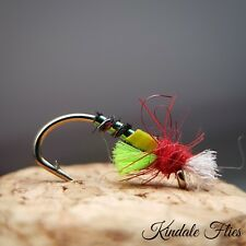 Lightweight Holo Green / Red Buzzers size 10 (Set of 3) Fly Fishing Flies