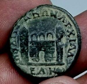 RARE MINT ANCIENT ROMAN BRONZE PROVINCIAL COIN ANTONINUS/TEMPLE.9,3 GR.24 MM