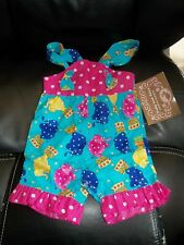 BOUTIQUE RUBY AND ROSIE COUTURE FASHIONS HOT PINK ELEPHANTS SHORTALLS SIZE 9 MON