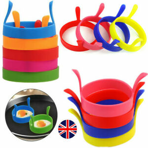 4Pcs SILICONE EGG FRYING RINGS FRY FRIED POACHER MOULD PERFECT FOR PANCAKES RING