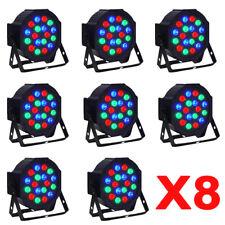 8x 18 LED Stage Lights RGB Par Can Flat DMX512 DJ Disco Bar Uplighter Lighting