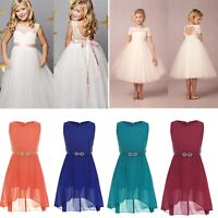 Girls Flower Lace Dress Kids Pageant Wedding Bridesmaid Formal Party Communion