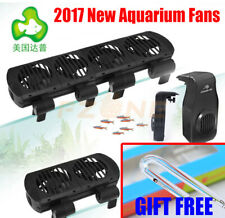 Aquarium Top Adjustable Mini Cooling Hang Fan with ADA style glass thermometer