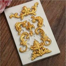 Baroque Sculpted Flower Lace Silicone Fondant Mould Cake Decoration Sugar Molds