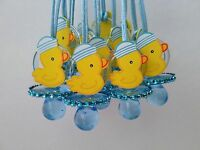 12 Duck Pacifier Necklaces Baby Shower Game Blue Favors Prizes ~ Boy Decorations