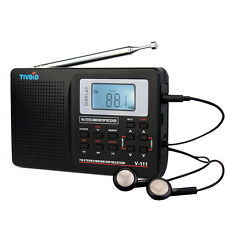 TIVDIO DSP Stereo FM /MW/SW Radio World Band Receiver Digital Alarm Clock V-111