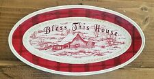 Fitz and Floyd Town & Country Oval Plate Tray Bless This House Winter Farm Scene