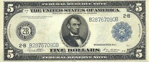 1914 $5 FEDERAL RESERVE NEW YORK ~ WORLD WAR I TYPE ~ SUPER ABOUT UNCIRCULATED