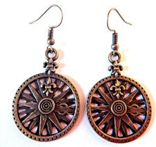 HYPOALLERGENIC BRONZE COMPASS ROSE EARRINGS steampunk nautical pirate ship 6E