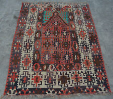 4'4 x 3'4 FT Antique Bohemian Style Turkish Oushak Kilim Prayer rug kilim