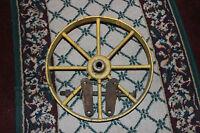 "Vintage Industrial 8 Spoke Wheel 14 & 5/8"" Wheel Yellow Country Farm House Decor"