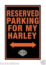 """Harley-Davidson Tin Sign Embossed """"Reserved Parking For My Harley"""" Garage 991"""