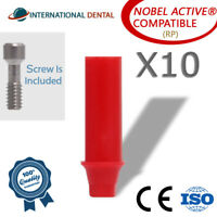 10 Plastic Castable Abutment With Hex (RP) Nobel Biocare Active Dental Implant