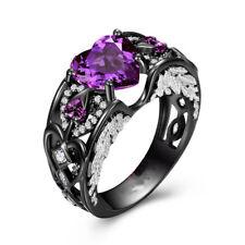 Heart Shape Amethyst Cz Black Gold Filled Angel Wings Women Wedding Band Ring