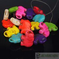 """Mixed Howlite Turquoise Gemstone Side Ways Flat Elephant Spacer Loose Beads 16"""""""