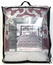 New King  Size 5 Pc Duvet Cover Set  Purple / Gray  104 x 92 Polyester
