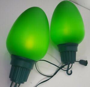 2 BLOW MOLD Really Big Lights Christmas Bulbs Illuminated Vintage Style Green