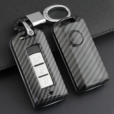 For Mitsubishi Outlander Sport Eclipse Cross Carbon Fiber Car Key Fob Cover Case