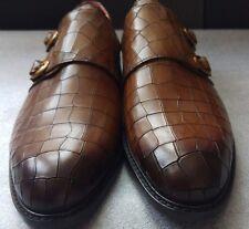 Deckard Monkstrap Kroko 100% leather men's shoes size 40EU (6UK) - Hand Made