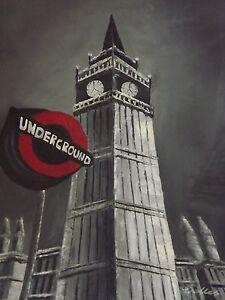 London Underground large oil painting canvas English British original city art