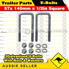 2 x U-Bolts 57mm x 140mm Square with Nuts Galvanized Trailer Box Boat Caravan