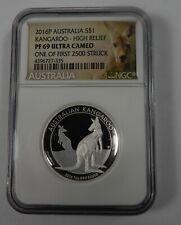 2016 Australia Kangaroo High Relief 1 Oz .999 Silver Ngc Pf69 Ultra Cameo