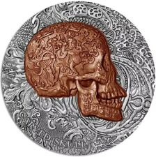 CAMEROON 2017 1 Oz Silver CARVED SKULL Bones Coin 1000 Francs.