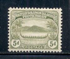 SOLOMON ISLANDS 13 SG12 MH 1908-11 5p olive War Canoe Cat$11