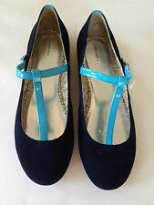 Girls Navy Blue Flat LANDS' END Suede Ballet Flat Youth Shoe Size 6 / EU 38 New