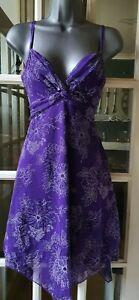Jane Norman Y2k 00's Vintage Style V Neck Purple Chiffon cami Skater Dress...