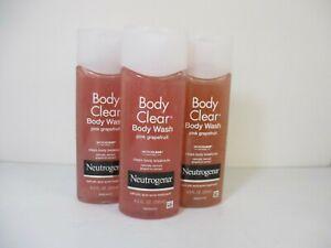 3 Neutrogena Body Clear Body Wash Pink Grapefruit 8.5 Oz Each Exp 1/22+ Jl 12847