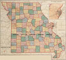 "Missouri Railroad Map. 1930's era. 37.5"" W x 36"" H. Printed on heavy paper."