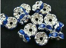 Wholesale 100Pcs Crystal Rhinestone Silver Plated Rondelle Spacer Beads 8mm