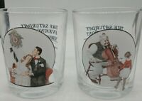 4 vintage The Saturday Evening Post Glassware Set Norman Rockwell nice set