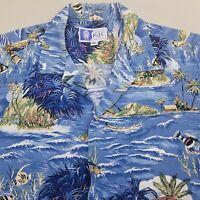 RJC Men's Hawaiian Shirt Size XL Cotton Island Fish Ocean Blue