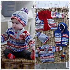 KNITTING PATTERN Baby Jumper Coat Hooded Gilet & Hat Cherish DK King Cole 5221