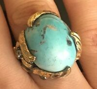 925 Sterling Silver Handmade Antique Turkish Turquoise Ladies Ring Size 7-9