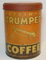 Old Vintage 1920s TRUMPET COFFEE TIN GRAPHIC TALL 1 POUND CAN ST. LOUIS MISSOURI