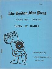 The London Free Press Index of Names 1849 - 1861 Genealogy Published 1981
