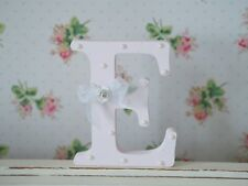 Shabby Chic Baby Pink Wooden Personalised Letter Initial Free Standing Pearls