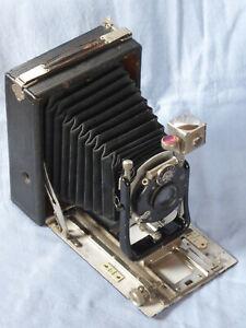 Frühe Plattenkamera Holz beledert 9x12