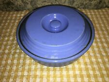 Antique primitive country farmhouse covered casserole dish bowl bright blue