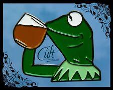 Kermit the Frog Pin Tea Meme metal and enamel funny Pins Badge