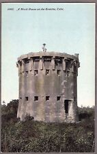 VINTAGE 1900'S MILITARY BLOCK HOUSE ON THE TROTCHA CUBA OLD CUBAN LITHO POSTCARD