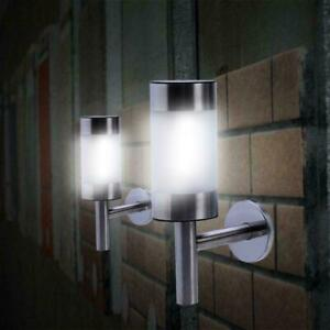 STAINLESS STEEL SOLAR POWER LED WALL LIGHT FENCE LAMP OUTDOOR GARDEN YARD LIGHTS