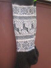 Long Socks LEG WARMERS hunting fishing natural sheep wool yarn Russian craft