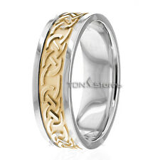 Celtic Knot Mens Women Wedding Bands Rings 10K Solid Gold Celtic Irish Band Ring