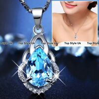 GIFTS FOR CHRISTMAS Blue Almond Crystal & Silver Necklace Presents for Her B3