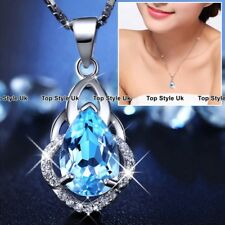 Necklaces for Women Blue Topaz Gemstone Tear 925 Silver Birthday Gifts Xmas B2